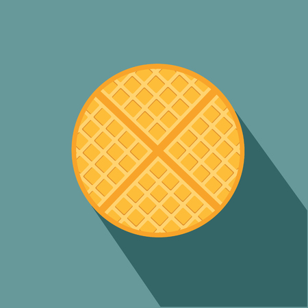 vector breakfast waffle, belgium round waffle sweet delicious food concept vector eps 10