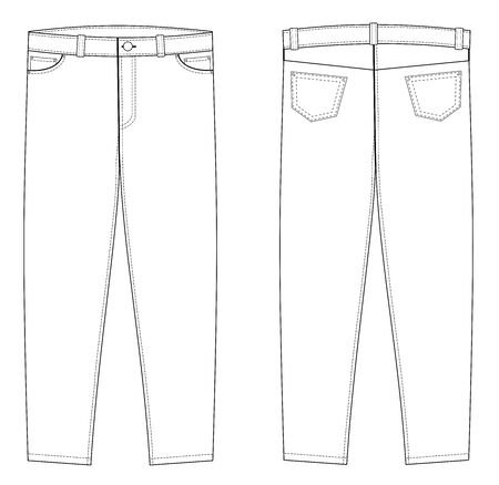 illustration of jeans. Front and back views, vector eps 10