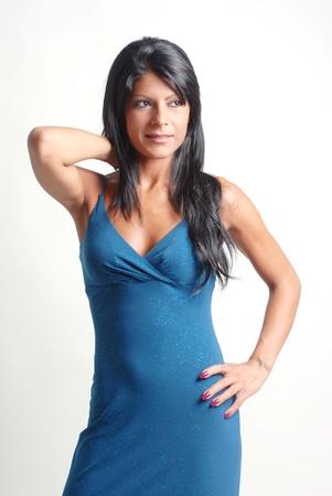 hair blacks: brunette girl with blue dress