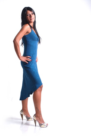 brunette girl with blue dress Stock Photo - 10316743
