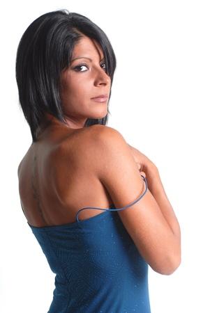 brunette girl with blue dress Stock Photo - 10331165
