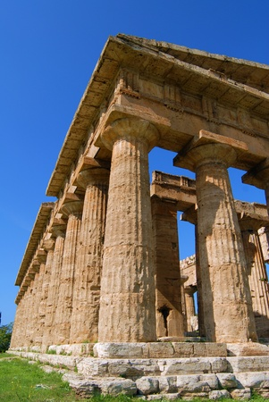details of temples in paestum salerno, italy Stock Photo