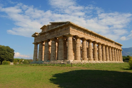 A view of Paestum Temple, Salerno, Italy Stock Photo