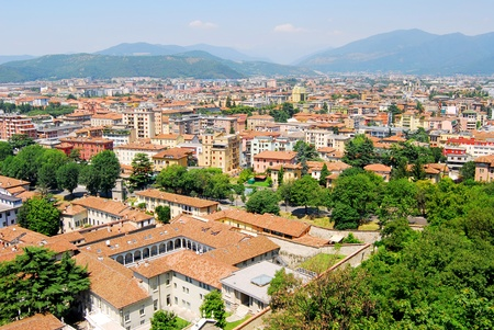 aereal: Aereal view of Brescia city from the castle