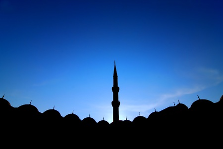 love dome: A New Mosque details with minaret in Istanbul in backlight