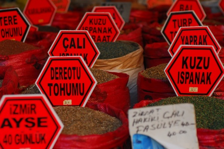 Various spices in Istanbul market, Turkey