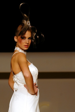 Naples - Italy, 2010. Model of TuttoSposi bridal fashion show