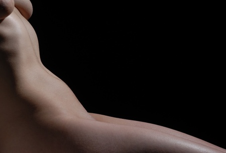 Isolated naked woman body part