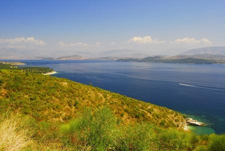 Kerkyra, Corf�, beach landscape with Albania coast photo