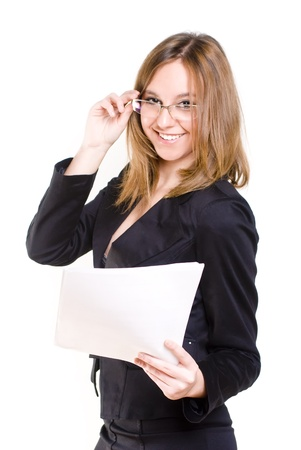 An isolated smiling sexy secretary Stock Photo - 11813438