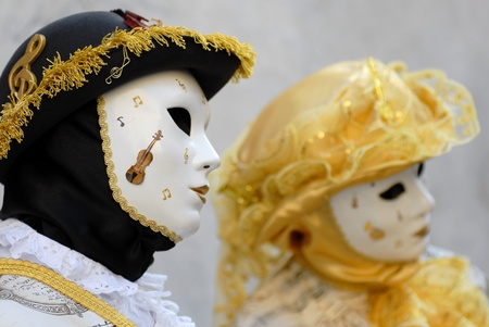 Venetian masks during Venetian Carnival photo