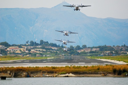 Composition of a Greek airplane  tacking off from Corf� airport