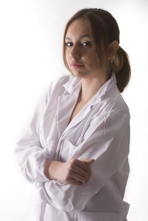 An young woman nurse looking you photo