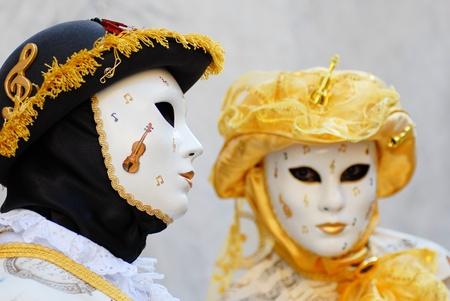 Venetian masks during sensation venetian carnival in Venice photo