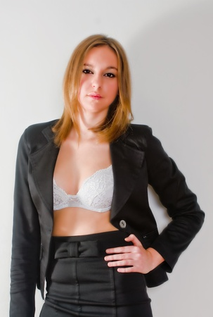 tailleur: An isolated sexy secretary on white background with a tailleur