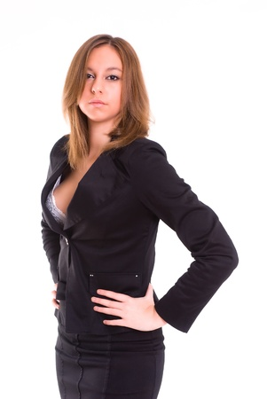 executive assistants: An isolated sexy secretary with a tailored shirt, on white background