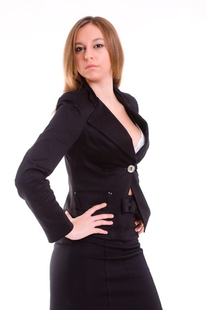 sexy businesswoman: An isolated sexy secretary with a tailored shirt, on white background