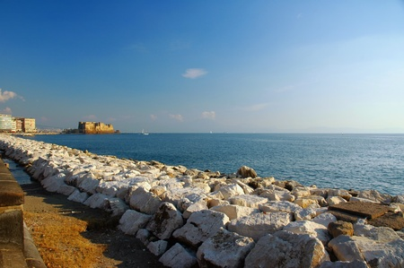 view of Naples, Italy with, gulf and the fortress  Castel dell photo