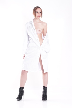 isolated sexy woman doctor on white background photo