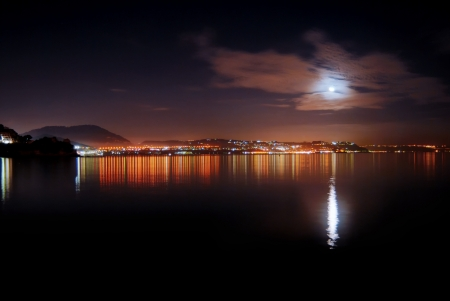 A view of Bacoli gulf by night, Naples, Itlay,