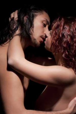 Temptation woman and man, kissing Stock Photo