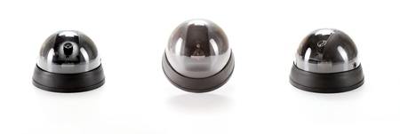 Isolated black Dome Camera collage  with leds on white background photo