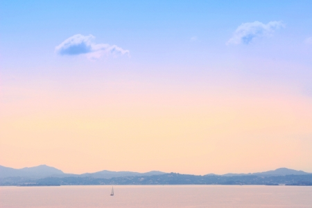 Early morning sea landscape background in Kerkyra, Greece photo