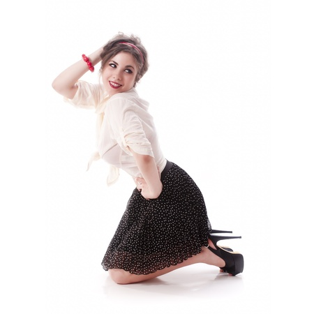 Sexy and young isolated pin up girl on white background photo