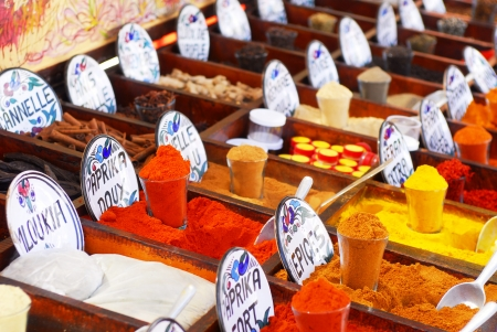 Group of spices in the oriental market photo