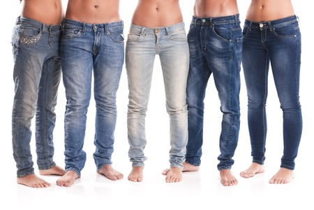 women in jeans: Isolated group of young men and women with jeans