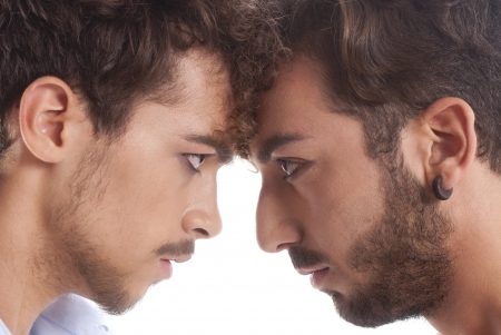 two men against each other for conflict and rivalry Stock Photo - 17891772