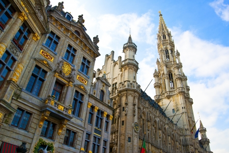 View of Brussels grand place in sunny day Stock Photo