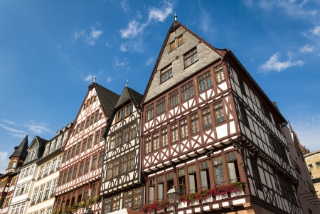 roemer: View of Frankfurt historical central square palaces in sunny day