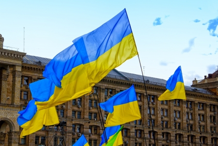 Ukraine flags in Kiev city Stock Photo