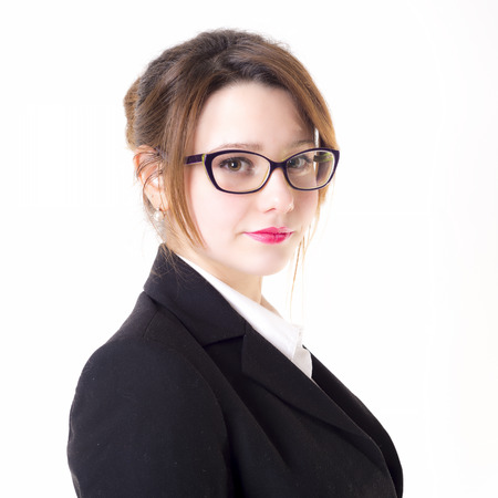 Isolated teacher or business woman with glasses photo