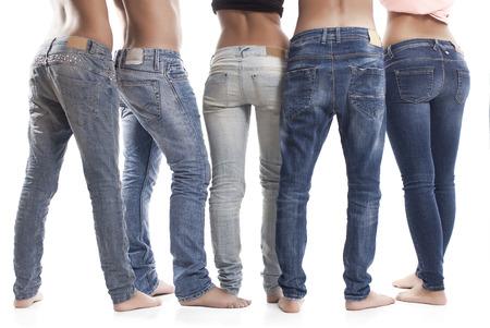 Rear View Of People Wearing Blue Jeans