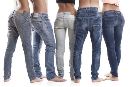 Rear View Of People Wearing Blue Jeans