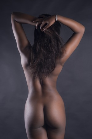 naked african: Rear View Of Sexy Nude Black Woman Over White Background