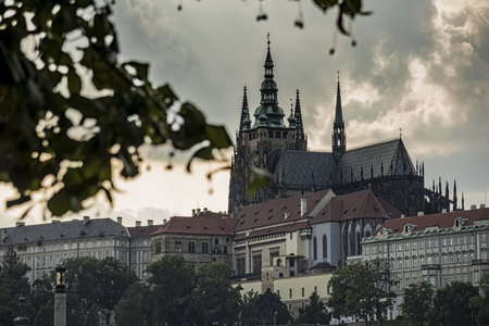 Gothic Cathedral of St. Vitus, the most beautiful cathedral of Prague. Czech Republic Editorial