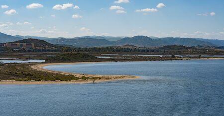 Coastline of Old Saline in Olbia from the sea, Sardinia, Italy