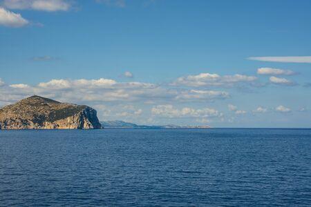Seaside view of Capo Figari in morning light, Sardinia Italy