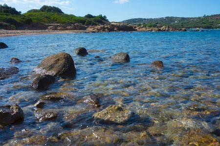 Beautiful sea of the una piccola spiaggia (One small beach) Olbia, Sardinia, Italy