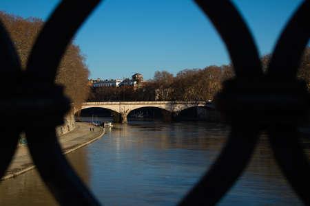 View of Ponte Umberto I Bridge. Rome, Italy. High quality photo Archivio Fotografico