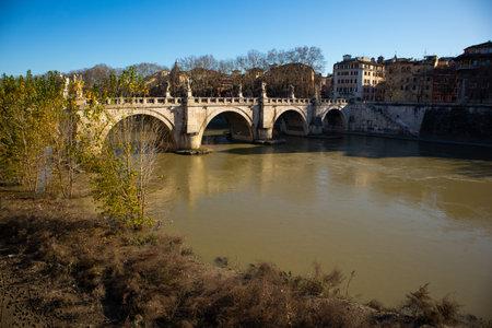 Ponte de SantAngelo bridge, Lungotevere Castello, Roma, Italy