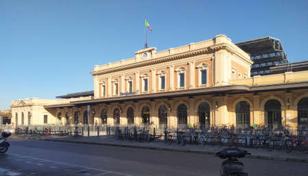 View of the main facade of the train station in Parma, Italy. High quality photo Stock Photo