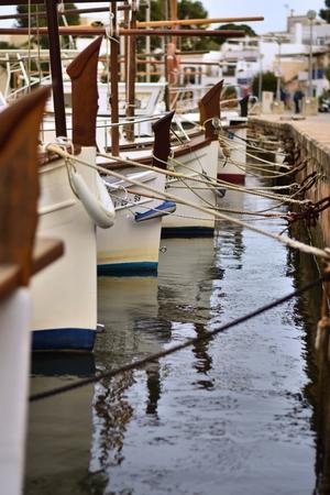 yauds in the port petro harbor, Mallorca, Spain Editorial