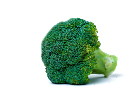 Fresh green broccoli on white background on table, closeup. Healthy diet, vegetarian food
