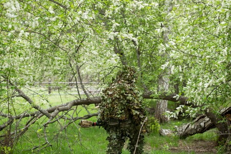 Sniper in green camouflage camouflage clothing in the forest goes back. Army, military, airsoft, hobby, game concept