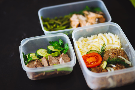 Variety of clean dieting dishes in containers. Healthy clean food concept, close up. Banque d'images