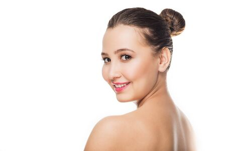 Portrait of young beautiful woman with healthy skin on white isolated background. Skin care, youth, make up concept